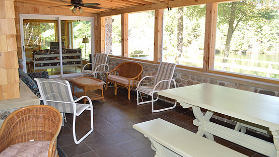 Bing Retreat Main Lake Shore Lodge Screened Porch Interior